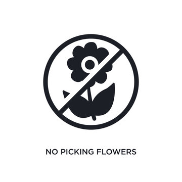 black no picking flowers isolated vector icon. simple element illustration from traffic signs concept vector icons. no picking flowers editable logo symbol design on white background. can be use for