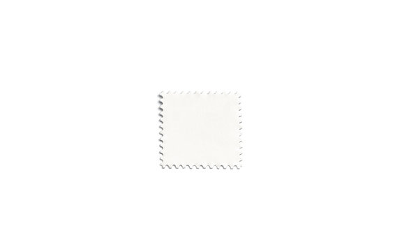 Blank white square postage stamp mockup, isolated, depth of field, 3d rendering. Empty mark for letter mock up, top view. Clear postal sticker for philately or mailing template.