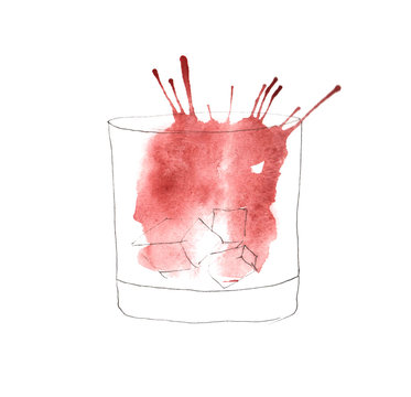 watercolor illustration of a glass of whiskey