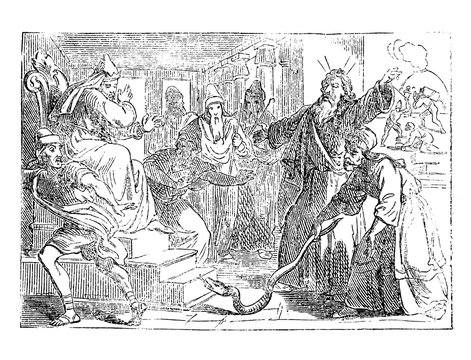Vintage antique illustration and line drawing or engraving of biblical story of Moses and Aaron changing the staff in snake during arguing with Pharaoh of Egypt.