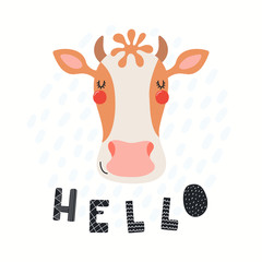 Foto auf Leinwand Abbildungen Hand drawn vector illustration of a cute funny cow face, with lettering quote Hello. Isolated objects on white background. Scandinavian style flat design. Concept for children print.