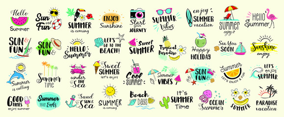 Big set of Summer labels, logos, hand drawn tags and elements for summer holiday, travel, beach vacation, sun. Vector illustration.  Wall mural