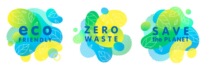 Set of trendy zero waste concepts with bright liquid shapes,tiny leaves and geometric elements.Fluid compositions perfect for Earth Day,prints,logos,flyers,banners design and more.Eco concepts.