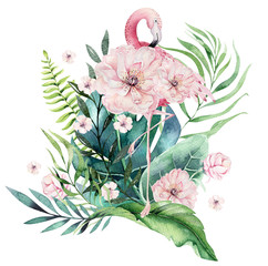 Hand drawn watercolor tropical birds set of flamingo with leaves. Exotic rose bird illustrations, jungle tree leaf, weddihg invitation. Perfect for fabric design. Aloha collection.