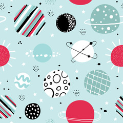 Childish seamless pattern with space elements. Creative nursery background. Perfect for kids design, fabric, wrapping, wallpaper, textile, apparel.