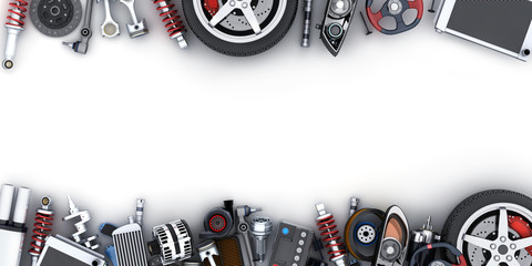 Many car parts on white background