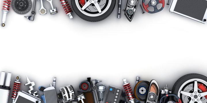Many car parts on white background