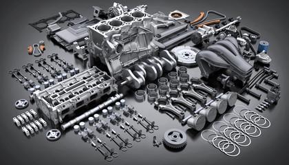 Car engine disassembled. many parts. Fotomurales