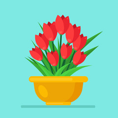 Bouquet of red tulip, roses, bunch of flowers in pot isolated on background. Happy woman day, birthday, wedding concept. Gift, present, surprise for mothers. Spring home plant. Vector flat design
