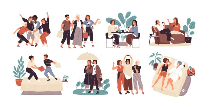 Bundle of young women or girl friends spending time together - drinking tea at cafe, walking with umbrella, pillow fighting, shopping, taking selfie. Cute cartoon characters. Flat vector illustration.