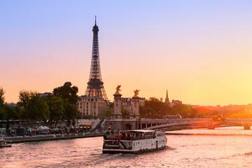 Paris Cityscape, sunset on Seine river Wall mural