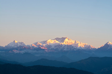 Kanchenjunga Range in Himalayas, landscape photography taken in the morning Wall mural