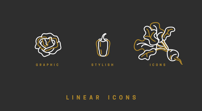 Icons vegetables in linear style. set icon cabbage, beet, pepper vector graphics.