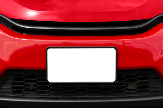 Blank White Front License Plate On Red Car With Copy Space