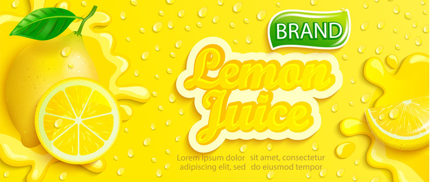 Fresh lemon juice splash banner with apteitic drops from condensation, fruit slice on gradient yellow background for brand,logo, template,label,emblem,store,packaging,advertising.Vector illustration