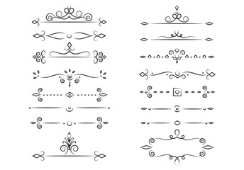 Set of decorative elements for design. Vector, vintage, antique style.