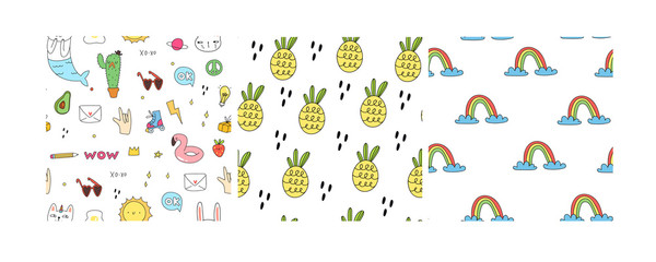 Set of three seamless patterns. Various doodle elements, pineapples and rainbows. Hand drawn colored vector illustration. Flat design. Trendy style. Every pattern is isolated