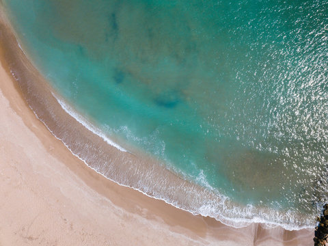 Aerial Shot Of The Mediterranean Shore And Waves