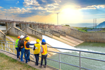 The success of the engineering team together to develop water power in the dam to generate...