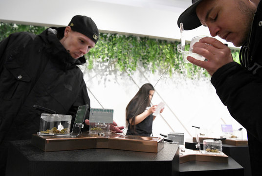 Customers at the Hunny Pot Cannabis Co. retail cannabis store shop as marijuana retail sales commenced in the province of Ontario