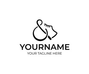 Boots and ampersand logo design. Footwear shop vector design. Shoes logotype