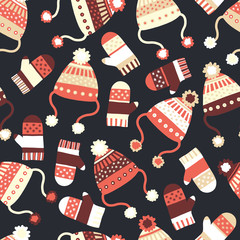 Seamless vector background with hats and mittens. Contemporary seasonal winter pattern tile with knitted winter clothes in red black beige. Cozy handmade knit Winter wear design, Scandinavian style.