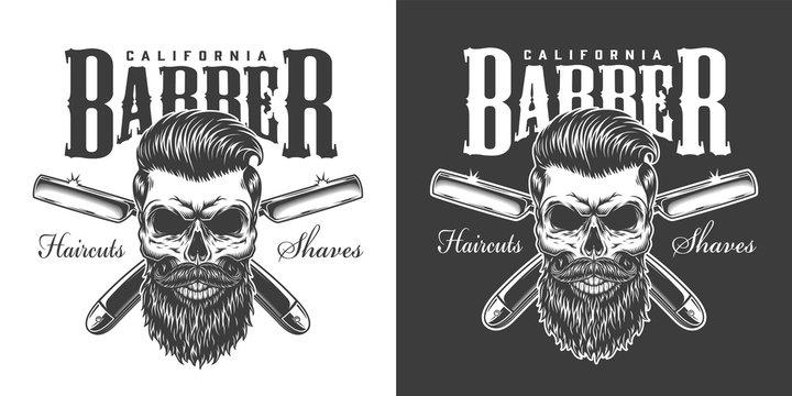 Vintage barbershop monochrome print