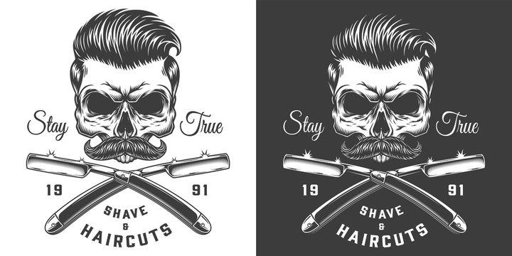 Vintage monochrome barbershop label