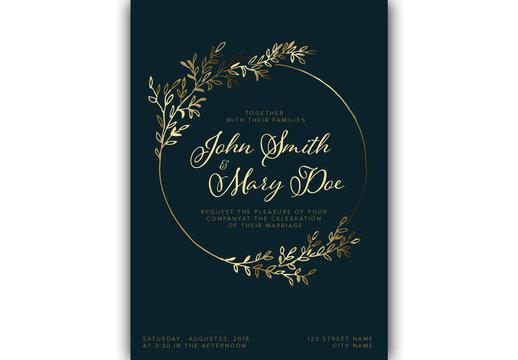 Wedding Invitation Layout with Gold Foliage Elements
