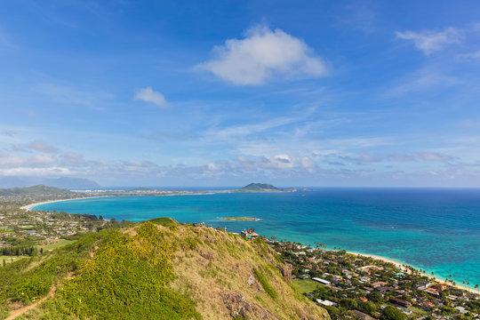 USA, Hawaii, Oahu, Kailua, View from Lanikai Pillbox Trail, Kaiwa Ridge Trail