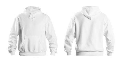 Set of stylish hoodie sweater on white background, front and back view. Space for design Fototapete