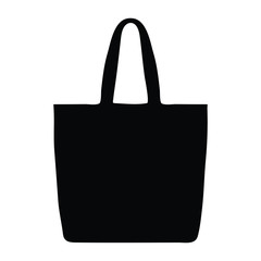 A black and white vector silhouette of a tote bag