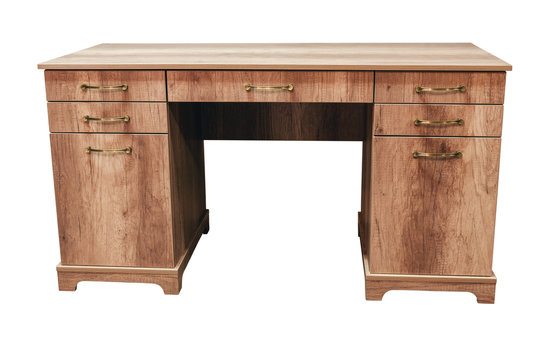 Cabinet furniture, writing desk on an isolated white background