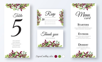 Wedding Invitation, menu card, table number, thank you, rsvp. Floral design with green and red (burgundy) fern leaves, foliage greenery decorative frame print. Vector elegant cute rustic greeting