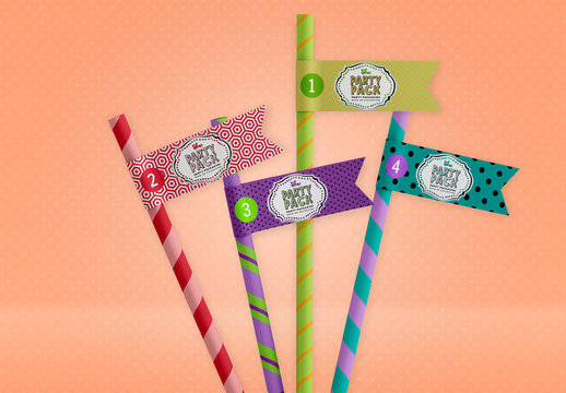 Patterned Drinking Straws with Flags Mockup