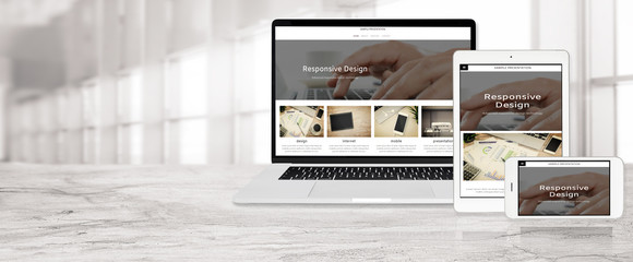 Obraz Banner of multi device technology for responsive web design - laptop , digital tablet and smartphone in various orientation at the office (sample web page). - fototapety do salonu