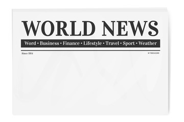 Folded newspaper. Blank background for news page template.