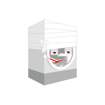 Washer Sick With thermometer isolated. ill washing machine Cartoon Style. bandaged Vector