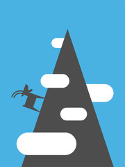Mountain goat on rock isolated. Animal vector illustration beast