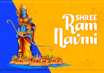 Wall Mural - Shree Ram Navami celebration background for religious holiday of India