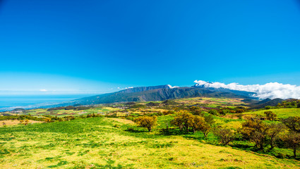 Panorama of the Plaine des Cafres with the Piton des Neiges in the background - Reunion Island - touristic site