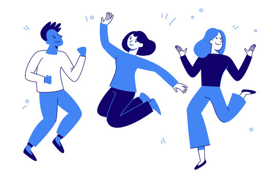 Vector illustration in flat simple style - happy jumping team - smiling men and women