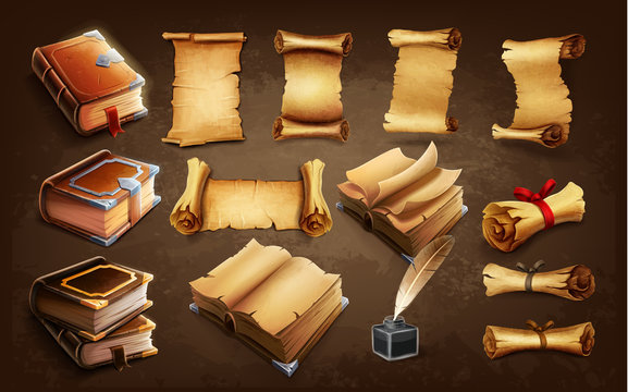 set of icons books and scrolls