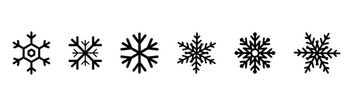 Set of black Snowflakes icons. Black snowflake. Snowflakes template. Snowflake winter. Snowflakes icons. Snowflake vector icon