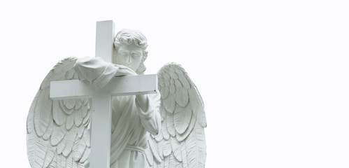 Fotomurales - Ancient statue of a sad angel with cross. Isolated on white background. Faith, religion, Christianity, death, immortality concept.