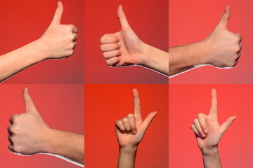 Male hand gestures and signs collection isolated over red background. Set of multiple pictures. Part of series