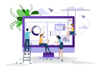 Business concept, social media, learning,  People  are creating  business on internet, analysis and problem solving, Online business promotion, Brainstorming together in team work.Vector illustration. Wall mural