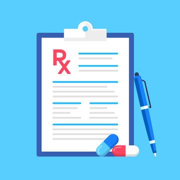 Prescription pad, pen and pills. Rx, prescription form. Modern flat design. Vector illustration