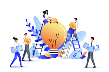Crowdfunding and investment into idea or business startup. Vector flat illustration.