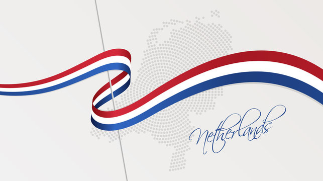 Wavy national flag and radial dotted halftone map of the Netherlands